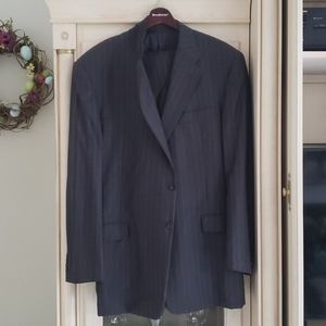 Hickey Freeman Suit. Navy blue with pinstripes.